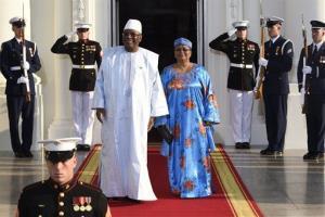 Ibrahim Boubacar Keita, President of the Republic of Mali ,and his wife Keita Aminata Maiga arrive for a dinner last night.