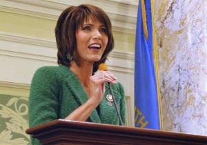 In this Jan. 22, 2014 file photo, Rep. Kristi Noem, R-SD, speaks in Pierre to the South Dakota Senate.