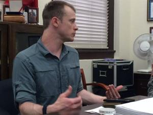 This photo provided by Eugene R. Fidell  shows Sgt. Bowe Bergdahl preparing to be interviewed by Army investigators in August, 2014.