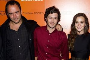 Dave Matthews, left, Adam Brody and  Leighton Meester attend The Oranges screening hosted by the Cinema Society and The Hollywood Reporter on Friday, Sept. 14, 2012 in New York.