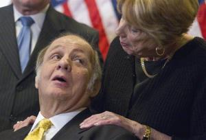 This March 30, 2011 file photo shows former White House press secretary James Brady looking at his wife Sarah Brady, during a news conference on Capitol Hill.