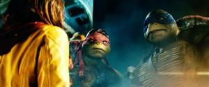 This image released by Paramount Pictures shows characters Raphael and Leonardo, right, in a scene from Teenage Mutant Ninja Turtles.