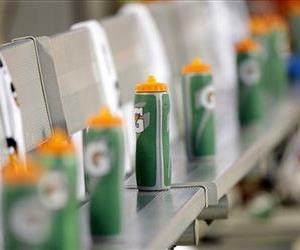 Gatorade bottles line the Buffalo Bills' bench during the second half of a preseason NFL football game against the Carolina Panthers in Charlotte, NC, on Aug. 8, 2014.