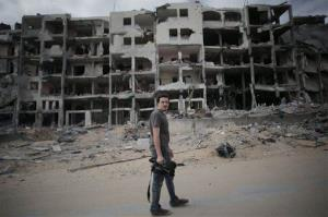 This Monday, Aug. 11, 2014, photo shows Associated Press video journalist Simone Camilli in Beit Lahiya, Gaza Strip. Camilli, 35, was killed in an explosion in the Gaza Strip on Aug. 13, 2014.
