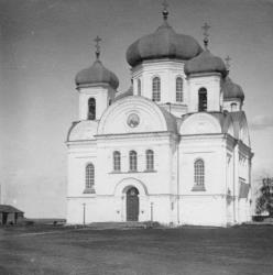 The Cathedral of the Epiphany as it once appeared. It and other buildings are re-emerging from a reservoir thanks to a drought.