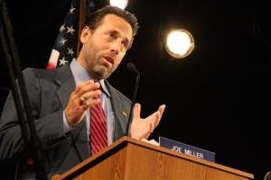 Joe Miller speaks during a debate in Anchorage, Alaska earlier this month.