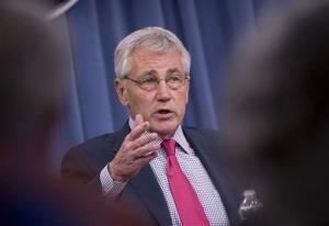 This July 3, 2014 file photo shows Defense Secretary Chuck Hagel speaking at the Pentagon.