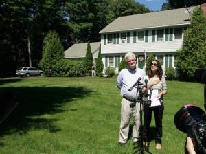 John and Diane Foley talk to reporters outside their home in Rochester, NH.