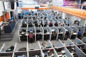 In this Aug. 13, 2014 photo, an overall view of the Firstkontact Center, a call center in the northern border city of Tijuana, Mexico.