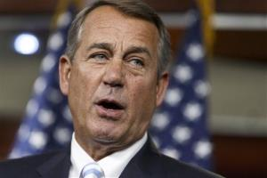 House Speaker John Boehner of Ohio speaks at a news conference on Capitol Hill in Washington on July 31, 2014.