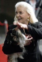 Lauren Bacall and her dog Sophie arrive for the gala premiere of The Walker during the the Toronto International Film Festival in Toronto, Thursday, Sept. 13, 2007.