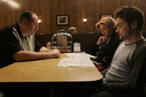 This photo provided by HBO shows, from left, actors James Gandolfini as Tony Soprano, Edie Falco as Carmela and Robert Iler as Anthony Jr. in a scene from the finale.
