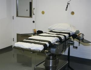 In this April 15, 2008, file photo, the gurney in the execution chamber at the Oklahoma State Penitentiary is pictured in McAlester, Okla.