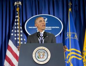 President Obama speaks at the Centers for Disease Control and Prevention in Atlanta during a visit on Sept. 16.