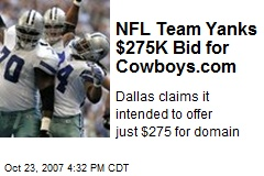 NFL Team Yanks $275K Bid for Cowboys.com