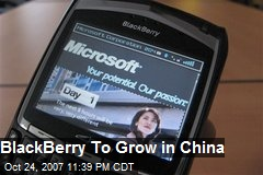 BlackBerry To Grow in China