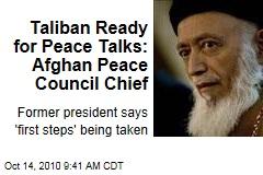 Taliban Ready for Peace Talks: Afghan Peace Council Chief
