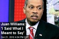 Juan Williams: 'I Said What I Meant to Say'