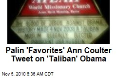 Palin 'Favorites' Ann Coulter Tweet on 'Taliban' Obama