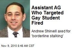 Assistant AG Fired for Campaign Vs. Gay Student