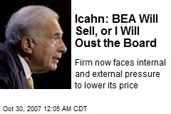 Icahn: BEA Will Sell, or I Will Oust the Board