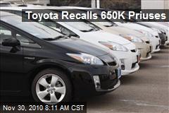 Toyota Recalls 650K Priuses