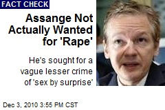 Assange Not Actually Wanted for 'Rape'