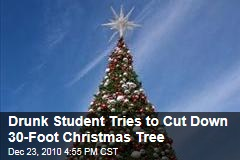 Drunk Student Tries to Cut Down 30-Foot Christmas Tree