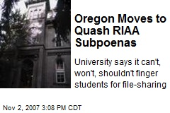 Oregon Moves to Quash RIAA Subpoenas