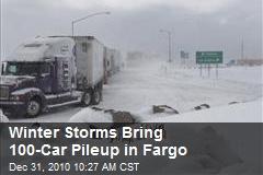 Winter Storms Bring 100-Car Pileup in Fargo