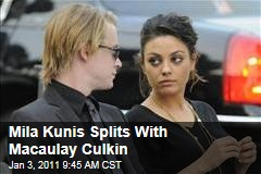 Mila Kunis Splits With Macaulay Culkin
