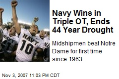 Navy Wins in Triple OT, Ends 44 Year Drought