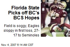 Florida State Picks off BC's BCS Hopes