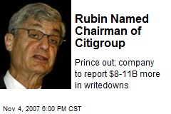 Rubin Named Chairman of Citigroup