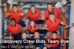 Discovery Crew Bids Teary Bye