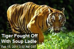 Tiger Fought Off With Soup Ladle