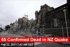 Christchurch Earthquake Death Toll Hits 65