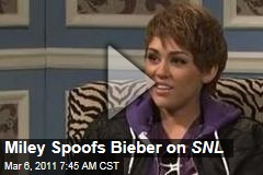 Miley Cyrus Spoofs Justin Bieber on Saturday Night Live
