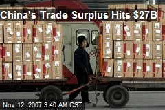 China's Trade Surplus Hits $27B