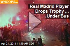 Real Madrid Soccer Player Sergio Ramos Drops Copa del Rey Trophy Under Bus (Video)