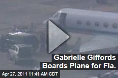 Gabrielle Giffords Boards Plane to See Husband Blast Off on Shuttle Endeavour