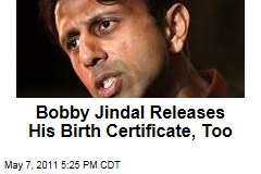 Louisiana Governor Bobby Jindal Releases His Birth Certificate to Prove He's a US Citizen