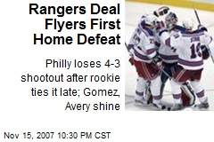 Rangers Deal Flyers First Home Defeat