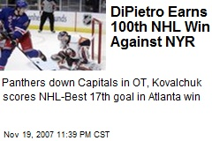 DiPietro Earns 100th NHL Win Against NYR