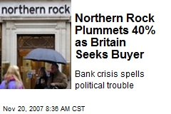 Northern Rock Plummets 40% as Britain Seeks Buyer