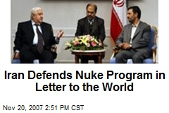 Iran Defends Nuke Program in Letter to the World