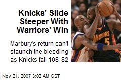 Knicks' Slide Steeper With Warriors' Win