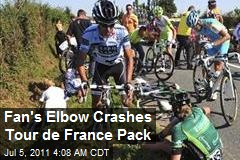 Fan's Elbow Crashes Tour de France Pack