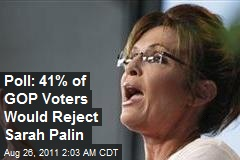 Poll: 41% of GOP Voters Would Reject Sarah Palin