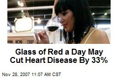 Glass of Red a Day May Cut Heart Disease By 33%